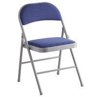 Lancaster Table & Seating Blue Fabric Folding Chair with Padded Seat