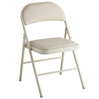 Lancaster Table & Seating Beige Vinyl Folding Chair with Padded Seat