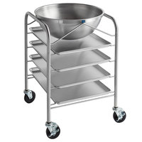 Vollrath Stainless Steel Mobile Mixing Bowl Stand and 30 Qt. Mixing Bowl with (4) 18 inch x 26 inch Wear-Ever Sheet Pans
