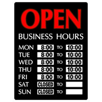 17 inch x 13 inch Open Business Hours Vertical LED Sign