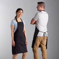 Choice Black Adjustable Bib Apron with 2 Pockets - 32 inchL x 30 inchW