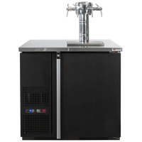 Micro Matic MDD36W-E-E Pro-Line E-Series 36 3/4 inch Dual Zone Wine Dispenser with 4 Faucet Sommelier Font - Black, (4) 1/6 Keg Capacity
