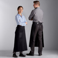 Choice Black Standard Bistro Apron with 1 Pocket - 33 inchL x 30 inchW