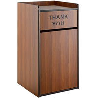 Lancaster Table & Seating Waste 35 Gallon Walnut Receptacle Enclosure with THANK YOU Swing Door