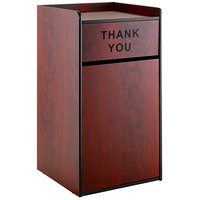 Lancaster Table & Seating Waste 35 Gallon Mahogany Receptacle Enclosure with THANK YOU Swing Door