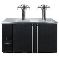 Micro Matic MDD58W-E-E Pro-Line E-Series 59 1/2 inch Dual Zone Wine Dispenser with 4 Faucet Sommelier Font - Black, (8) 1/6 Keg Capacity