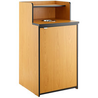 Lancaster Table & Seating Waste 32 Gallon Natural Receptacle Enclosure with Drop Hole and Tray Shelf