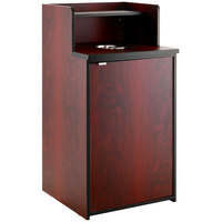 Lancaster Table & Seating Waste 32 Gallon Mahogany Receptacle Enclosure with Drop Hole and Tray Shelf