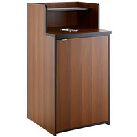 Lancaster Table & Seating Waste 32 Gallon Walnut Receptacle Enclosure with Drop Hole and Tray Shelf
