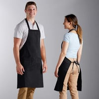 Choice Black Standard Bib Apron with 2 Pockets - 34 inchL x 30 inchW