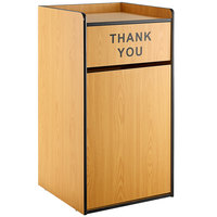 Lancaster Table & Seating Waste 35 Gallon Natural Receptacle Enclosure with THANK YOU Swing Door