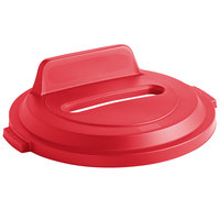 Rubbermaid 2018166 BRUTE 32 Gallon Red Recycling Bin Lid with Paper Slot and Vertical Billboard