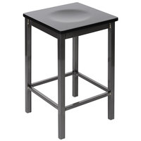 BFM Seating 2510HBLW-CL Trent Clear Coated Steel Counter Height Bar Stool with Black Wooden Seat