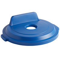 Rubbermaid 2018163 BRUTE 32 Gallon Blue Recycling Bin Lid with Bottle/Can Hole and Vertical Billboard