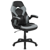 Flash Furniture CH-00095-GY-GG High-Back Gray LeatherSoft Swivel Office Chair / Video Game Chair with Flip-Up Arms