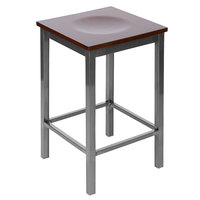 BFM Seating 2510HWAW-CL Trent Clear Coated Steel Counter Height Bar Stool with Walnut Wooden Seat