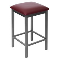 BFM Seating 2510HBUV-CL Trent Clear Coated Steel Counter Height Bar Stool with 2 inch Burgundy Vinyl Seat
