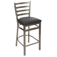 BFM Seating 2160HBLV-CL Lima Clear Coated Steel Counter Height Bar Stool with 2 inch Black Vinyl Seat