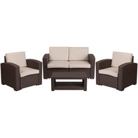 Flash Furniture DAD-SF-112T-CBN-GG 4-Piece Chocolate Brown Faux Rattan Patio Set with 2 Chairs, Loveseat, and Table