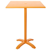 BFM Seating PHB3248CTU-0022CTT Bali-Beachcomber 32 inch x 48 inch Citrus Powder Coated Aluminum Bar Height Outdoor / Indoor Table with Cross Base and Umbrella Hole