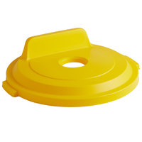Rubbermaid 2018161 BRUTE 32 Gallon Yellow Recycling Bin Lid with Bottle/Can Hole and Vertical Billboard