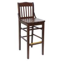 BFM Seating ZWB302DW-DW Cornell Dark Walnut Beechwood Bar Height Chair