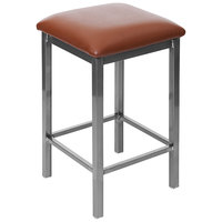 BFM Seating 2510HLBV-CL Trent Clear Coated Steel Counter Height Bar Stool with 2 inch Light Brown Vinyl Seat