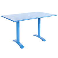 BFM Seating PHB3248BYU-0022BYT Bali-Beachcomber 32 inch x 48 inch Berry Powder Coated Aluminum Bar Height Outdoor / Indoor Table with Cross Base and Umbrella Hole