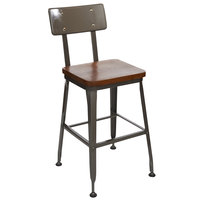 BFM Seating JS22HASH-CLCL Lincoln Clear Coated Steel Bar Stool with Metal Back and Autumn Ash Wooden Seat