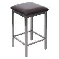BFM Seating 2510HDBV-CL Trent Clear Coated Steel Counter Height Bar Stool with 2 inch Dark Brown Vinyl Seat