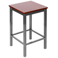 BFM Seating 2510HMHW-CL Trent Clear Coated Steel Counter Height Bar Stool with Mahogany Wooden Seat