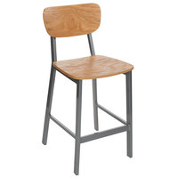 BFM Seating JS10HNTV-NTPL Hamilton Gray Steel Bar Stool with Natural Ash Wooden Seat - Platinum Finish
