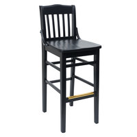 BFM Seating ZWB302BL-BL Cornell Black Beechwood Bar Height Chair