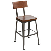 BFM Seating JS22HASH-AACL Lincoln Clear Coated Steel Bar Stool with Autumn Ash Wooden Back and Seat