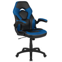 Flash Furniture CH-00095-BL-GG High-Back Blue LeatherSoft Swivel Office Chair / Video Game Chair with Flip-Up Arms