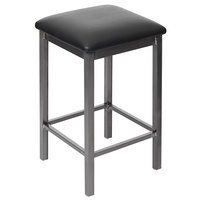 BFM Seating 2510HBLV-CL Trent Clear Coated Steel Counter Height Bar Stool with 2 inch Black Vinyl Seat