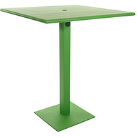 BFM Seating PHB3636LMU-20SQLMTU Beachcomber-Margate 36 inch Square Lime Aluminum Bar Height Outdoor / Indoor Table with Square Base and Umbrella Hole