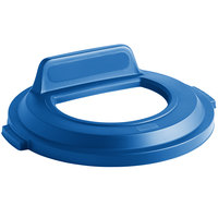 Rubbermaid 2017965 BRUTE 32 Gallon Blue Recycling Bin Lid with Open Top and Vertical Billboard