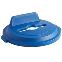 Rubbermaid 2018215 BRUTE 32 Gallon Blue Recycling Bin Lid with Mixed Recycle Slot and Vertical Billboard