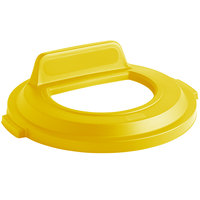 Rubbermaid 2017963 BRUTE 32 Gallon Yellow Recycling Bin Lid with Open Top and Vertical Billboard