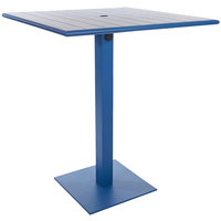 BFM Seating PHB3636BYU-20SQBYTU Beachcomber-Margate 36 inch Square Berry Aluminum Bar Height Outdoor / Indoor Table with Square Base and Umbrella Hole