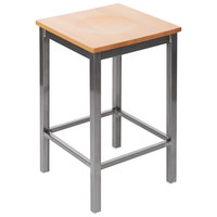 BFM Seating 2510HNTW-CL Trent Clear Coated Steel Counter Height Bar Stool with Natural Wooden Seat