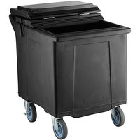 CaterGator 125 lb. Capacity Black Mobile Ice Caddy with Flip Lid