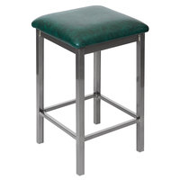BFM Seating 2510HGNV-CL Trent Clear Coated Steel Counter Height Bar Stool with 2 inch Green Vinyl Seat