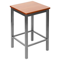 BFM Seating 2510HCHW-CL Trent Clear Coated Steel Counter Height Bar Stool with Cherry Wooden Seat