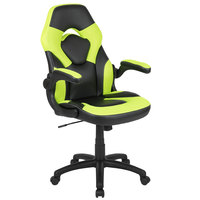 Flash Furniture CH-00095-GN-GG High-Back Neon-Green LeatherSoft Swivel Office Chair / Video Game Chair with Flip-Up Arms