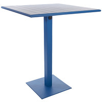 BFM Seating PHB2432BY-18SQBYT Beachcomber-Margate 24 inch x 32 inch Berry Aluminum Bar Height Outdoor / Indoor Table with Square Base