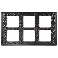 GET ML-164 Full Size Black Melamine Adapter Plate with Six Cut-Outs for GET ML-148 Square Crocks