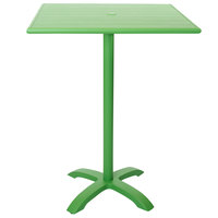 BFM Seating PHB3248LMU-0022LMT Bali-Beachcomber 32 inch x 48 inch Lime Powder Coated Aluminum Bar Height Outdoor / Indoor Table with Cross Base and Umbrella Hole