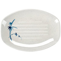 Thunder Group 2308BB Blue Bamboo 8 inch x 5 3/4 inch Oval Melamine Teriyaki Tray - 12/Case